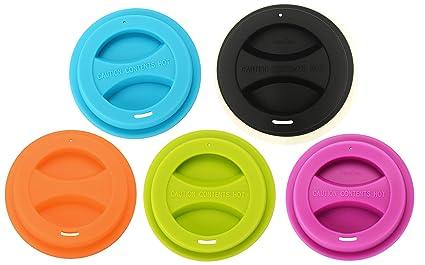 43a5e8e269c 5/pack Travel Mug Lid, KSENDALO Reusable Silicone Mug Lids for 12oz/16oz