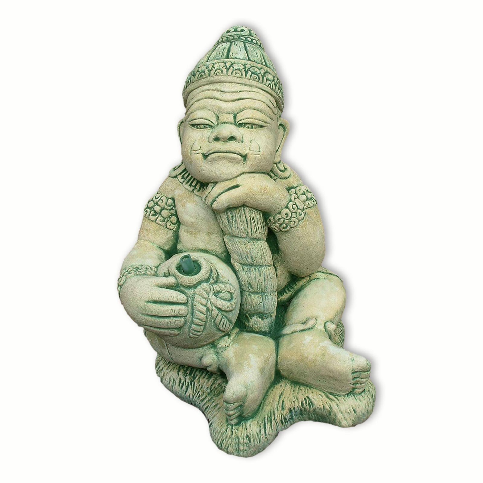 Thai guardian sitting, fountain, water shoot, sandstone, imported from Thailand, yellow/green (10232) by 10232
