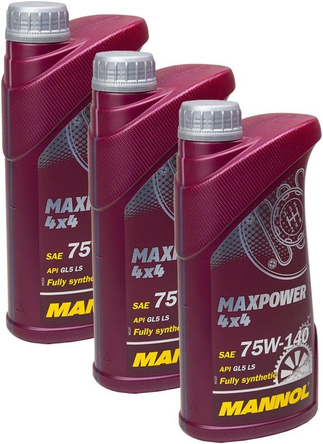 3x Mannol Mn8102 1 Maxpower 4x4 75w 140 Getriebeoel Api Gl 5 Ls 1l Auto