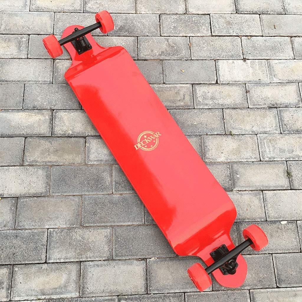 HXGL-スケートボード スケートボードラペリングロングボードダウンヒルボードシンキングボードロードブラシストリートトラベル大人子供スケートボード 赤