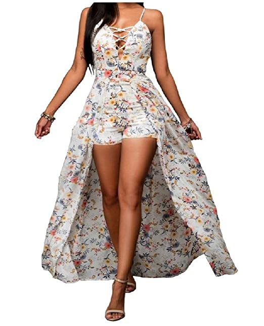 404404ba0996 Yayu Women Boho Style Floral Cut Out Back Romper Maxi Dress As Picture Small