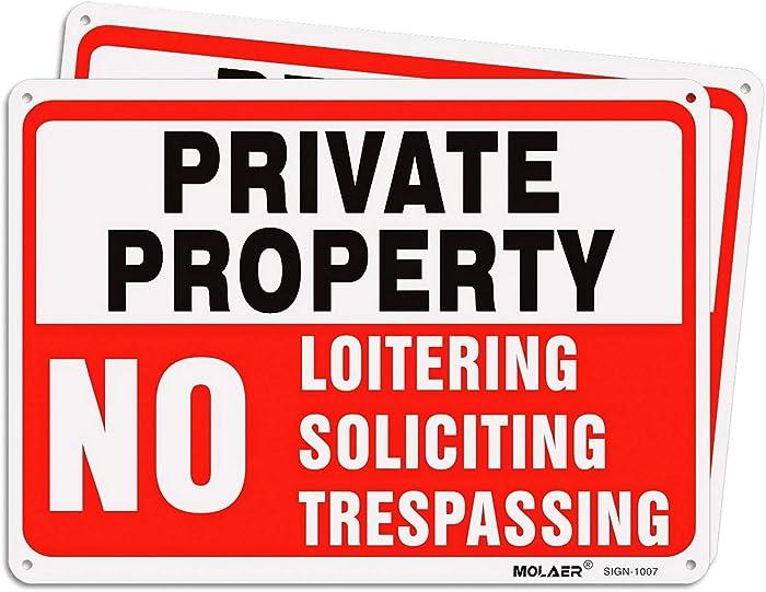 Top 10 Warning Neighborhood Watch No Loitering No Soliciting Home