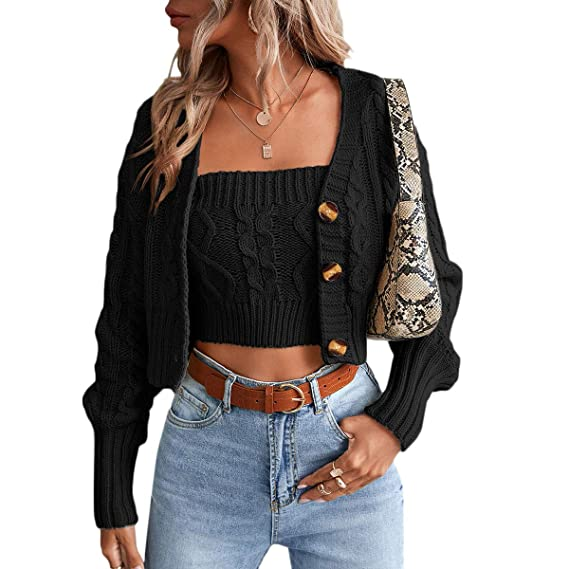 Romwe Womens Loose Long Sleeve Knit Button Down Cardigan Sweaters 2 Pieces Sweatshirt Pullove Crop Top Sets