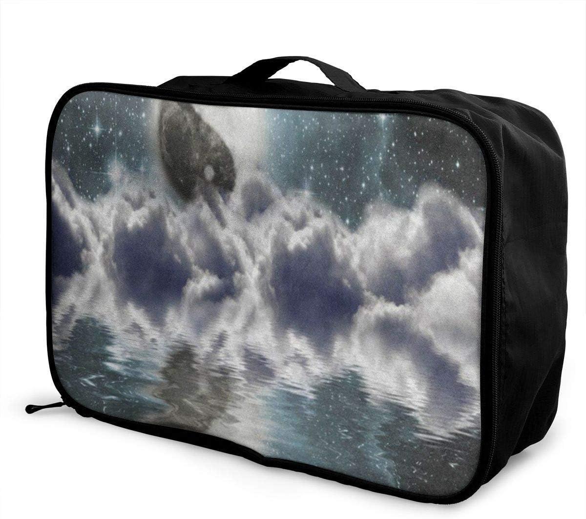 Travel Bags Moon Yin And Yang Cloud Ocean Portable Suitcase Vintage Trolley Handle Luggage Bag