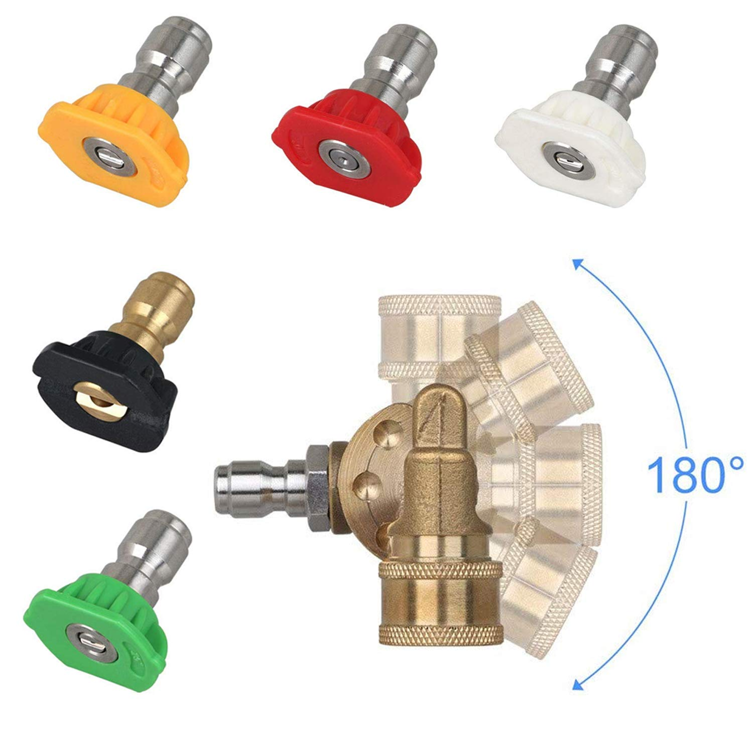 AgiiMan High Pressure Washer Nozzles Kit - 4500 PSI Power Washer Tips Accessories Set, 180 Degree Quick Connecting Pivoting Coupler by AgiiMan