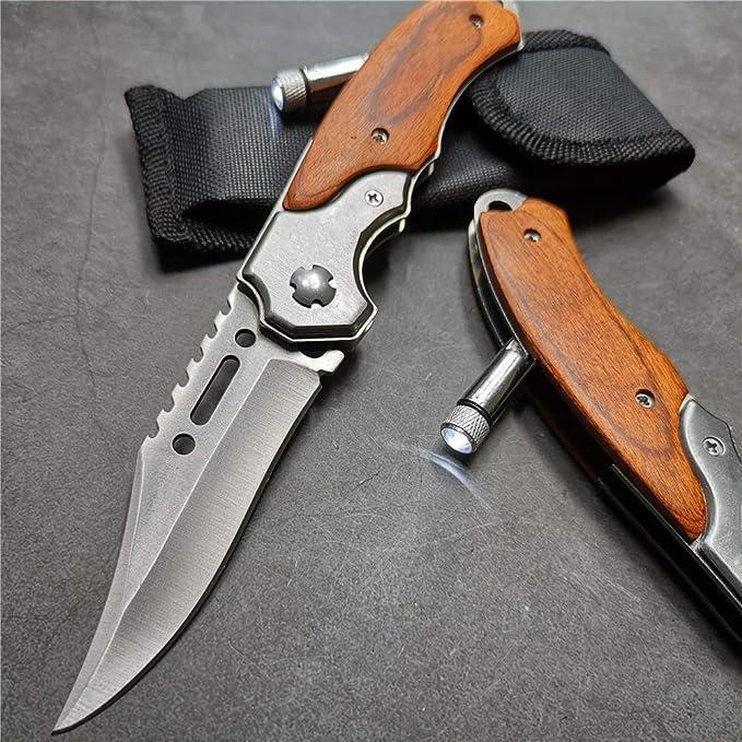 Amazon.com: Tuzech 57HRC Cuchillo de bolsillo táctico ...