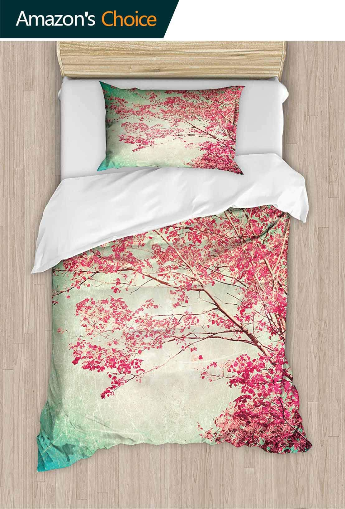 PRUNUSHOME Polyester Bedding Florets Ancient Tree Aged Grungy Nature Display M t Green Ultra Soft Hypoallergenic California King