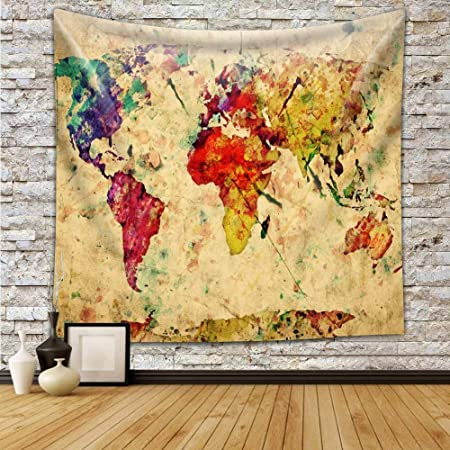 vintage colorful watercolor world map retro style expression on rh amazon co uk