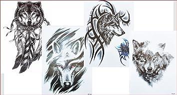 4 Sheets Wolf Tattoo Schwarz Arm Oberarm Tattoo Fake Tattoo Wolf 4