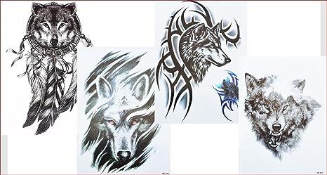 4 Sheets Wolf Tattoo Negro Brazo Brazo Tatuaje Falso Tatuaje Lobo 4