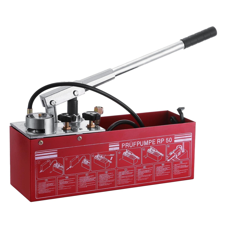 VEVOR Hydrostatic Test Pump 50 Bar Hand Pressure Test Pump 726 PSI 3 Gallon Tank 45ML 1/2' BSP Hydraulic Pressure Test Pump for Pipeline Pressure Container Irrigation Firemen