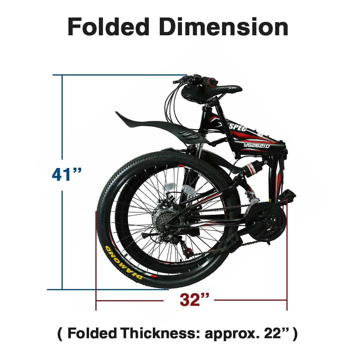 "Folded Dimensions of the Xspec 26"" 21 Speed Folding Mountain"