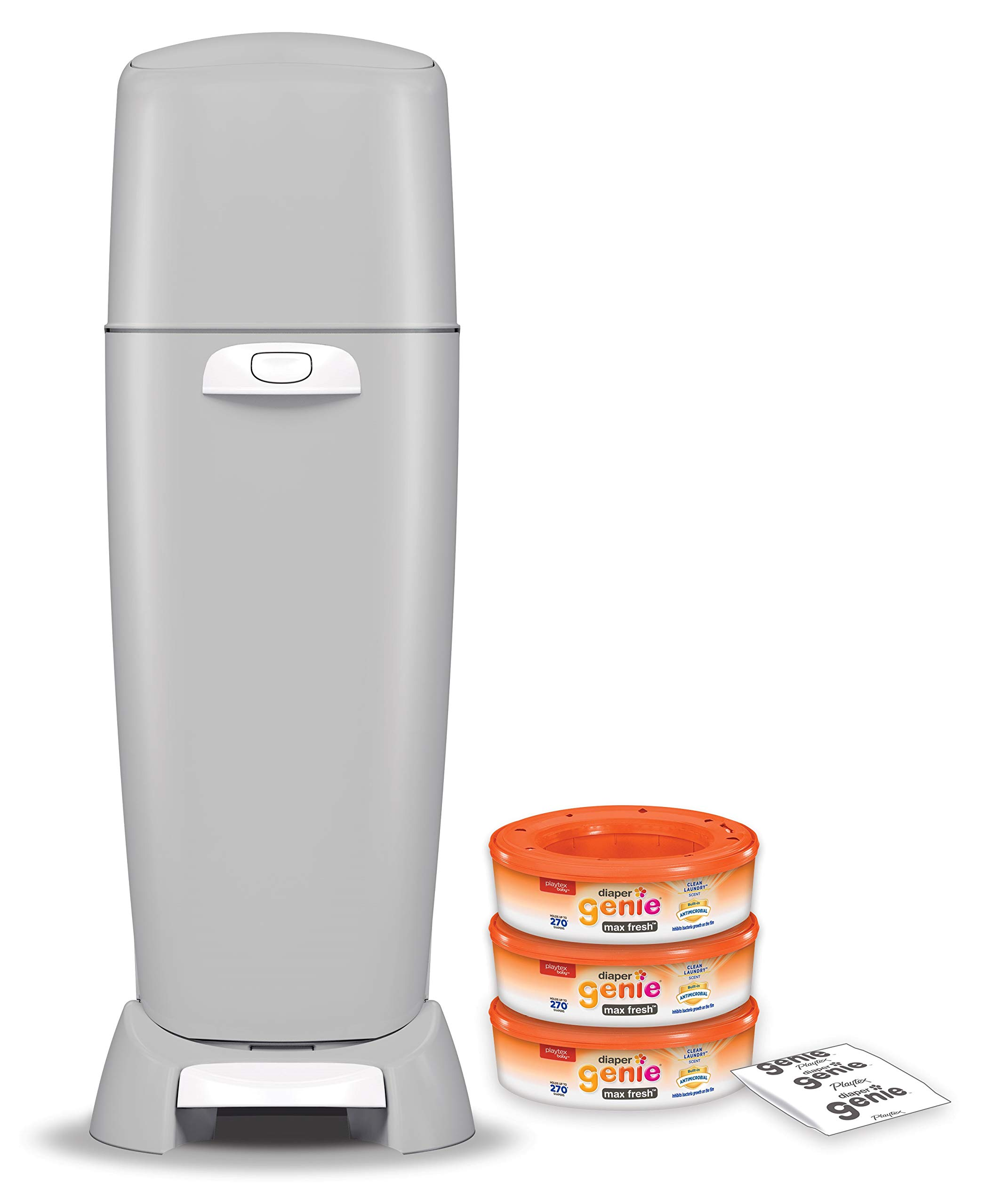 Playtex Diaper Genie Complete Diaper Pail Grey with Built-in Odor Controlling Antimicrobial Includes 1 Pail and 3 Max Fresh Refills