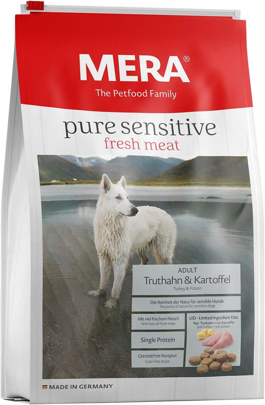 MERA Pienso para Perros Pure Sensitive Fresh Me, Pavo y Patatas, Comida Seca para Perros con una fórmula sin Cereales y 25% de Carne Fresca