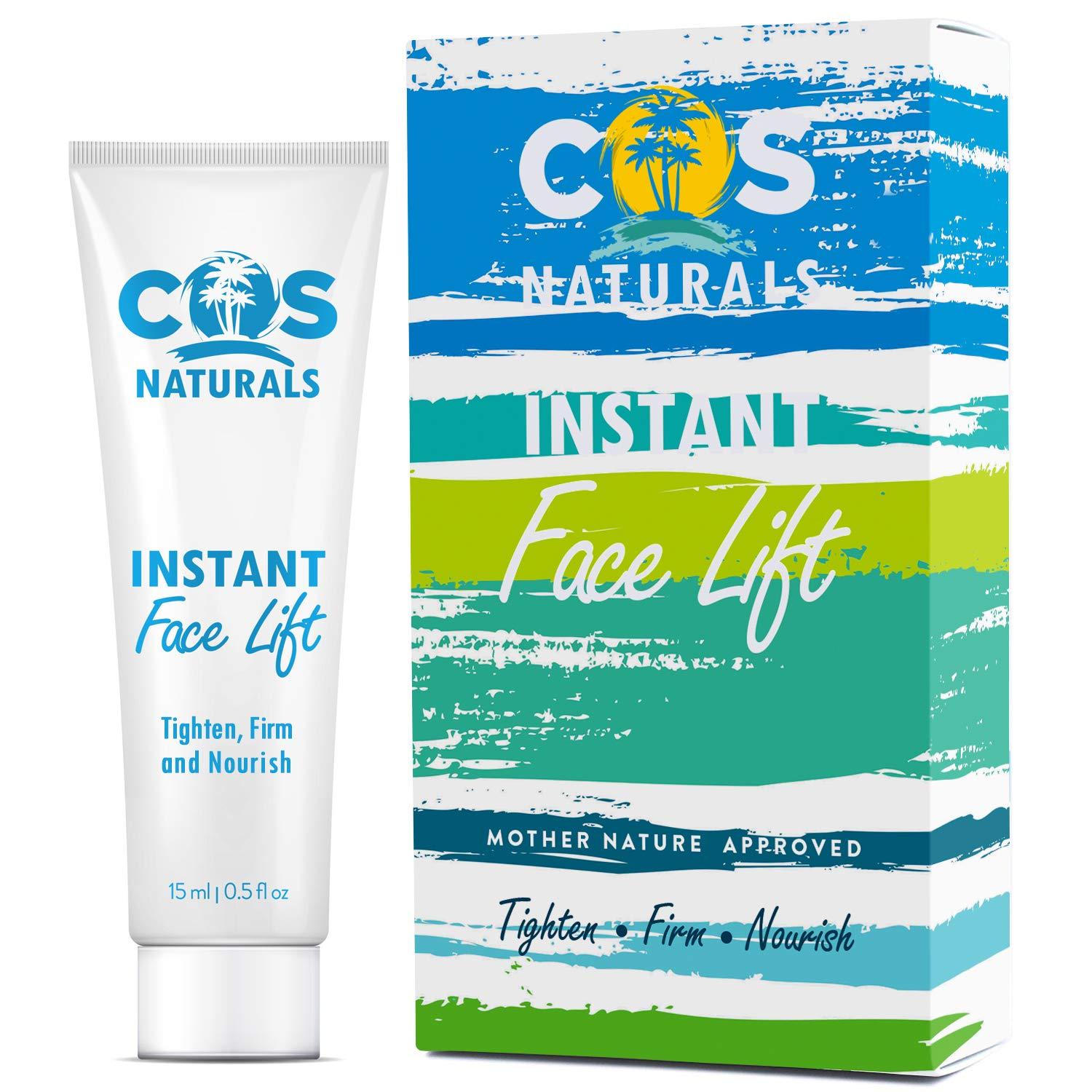 COS Naturals Instant Face Lift Firming Cream for Wrinkles Fine Lines Under Eye Puffiness Bags (0.5 fl oz / 15ml)