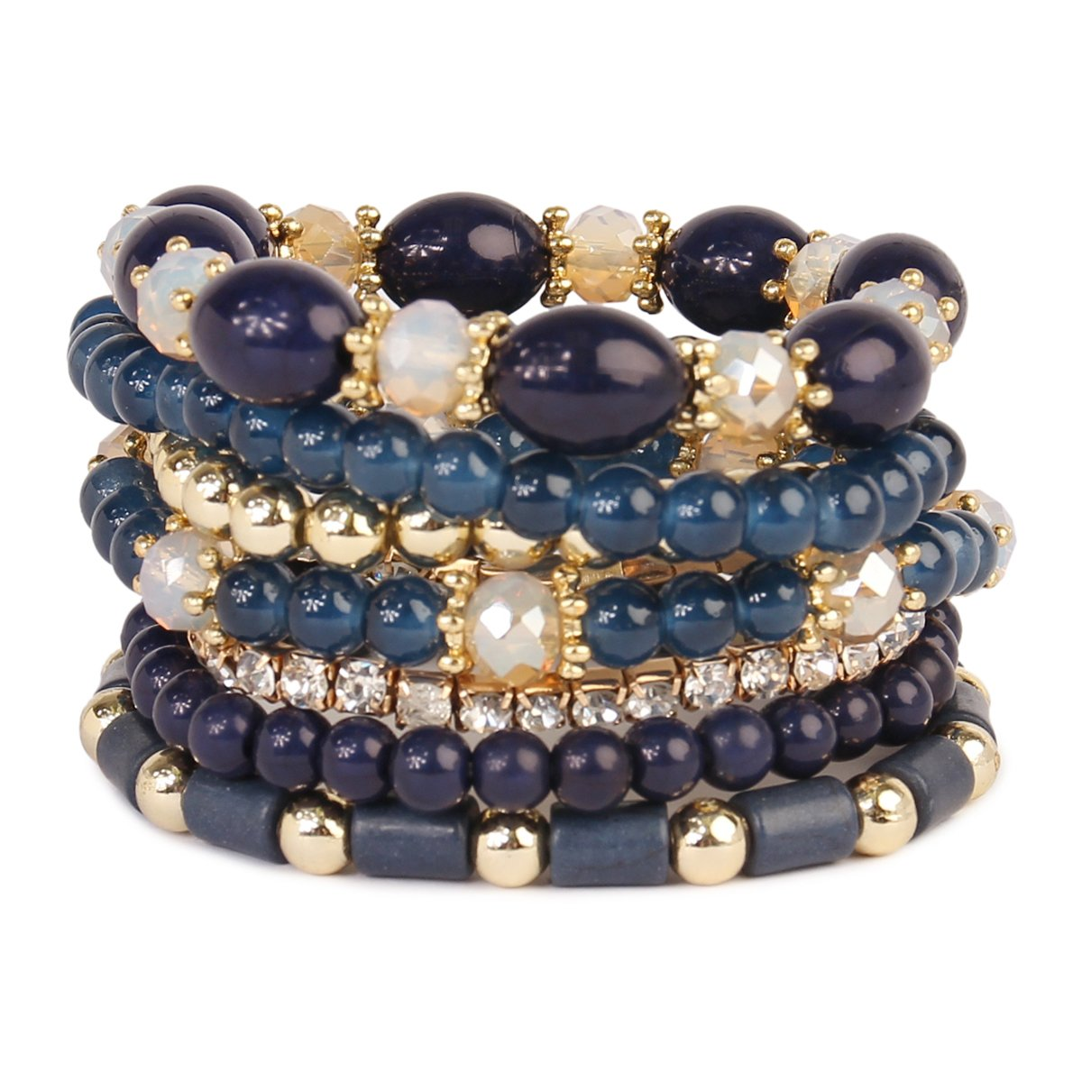 MYS Collection RIAH FASHION Multi Strand Bead Layering Statement Bracelets - Colorful Beaded Strand Stretch Bangles (Navy)