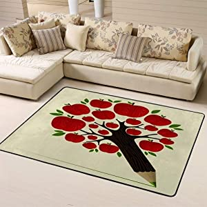 "Sports Area Rug Floor Rug Delicious Red Apple Icon in Tree Pencil Idea Layered for Easy Manipulationnon-Slip Doormat for Living Dining Dorm Room Bedroom 63""x48""inches"