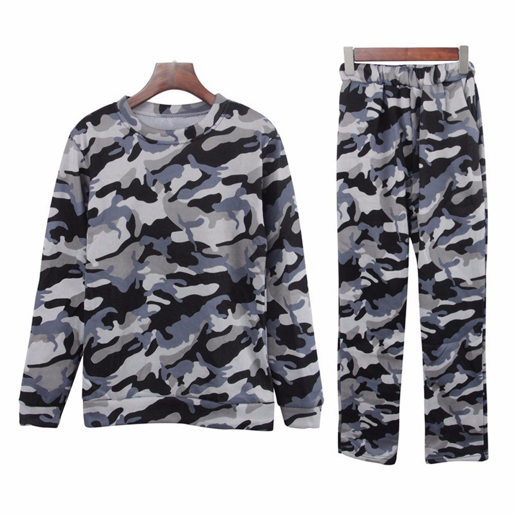 2d614180e8425 Faionny Women Camouflage Sweatsuit Slim Tracksuit Casual Sportswear Two  Pieces Set Tops + Long Pants at Amazon Women's Clothing store: