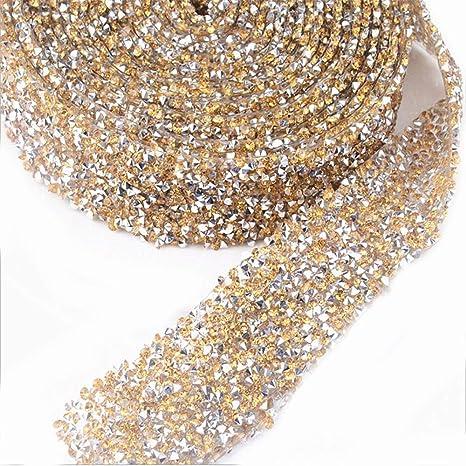 1 Yard Silver Gold Crystal Rhinestone Trim Chain Costume Sash Sewing Craft DIY