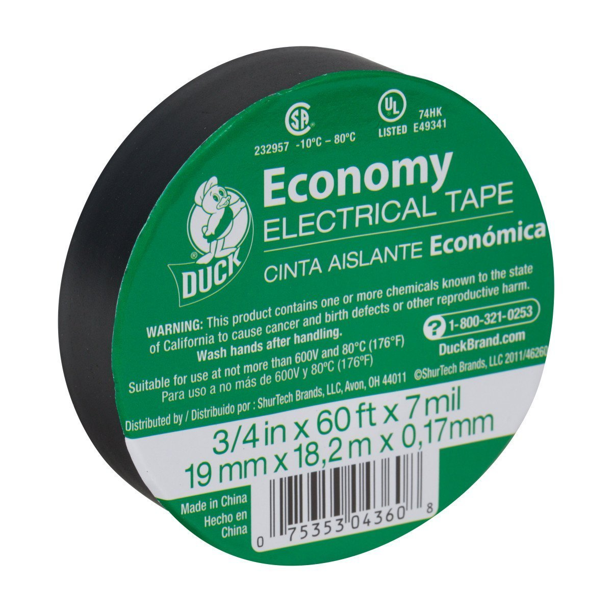 Duck Brand 299006 3/4-Inch by 60 Feet Utility Vinyl Electrical Tape with Single Roll, Black (20)