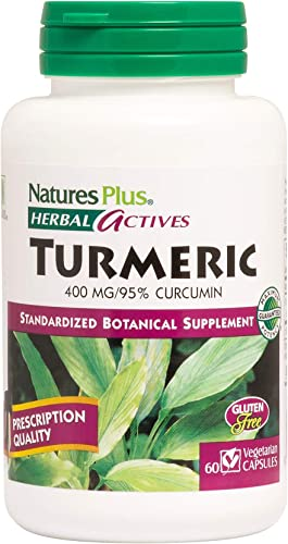 NaturesPlus Herbal Actives Turmeric – 400 mg, 95 Curcumin, 60 Vegan Capsules – Botanical Anti-Inflammatory Supplement, Antioxidant – Vegetarian, Gluten-Free – 60 Servings