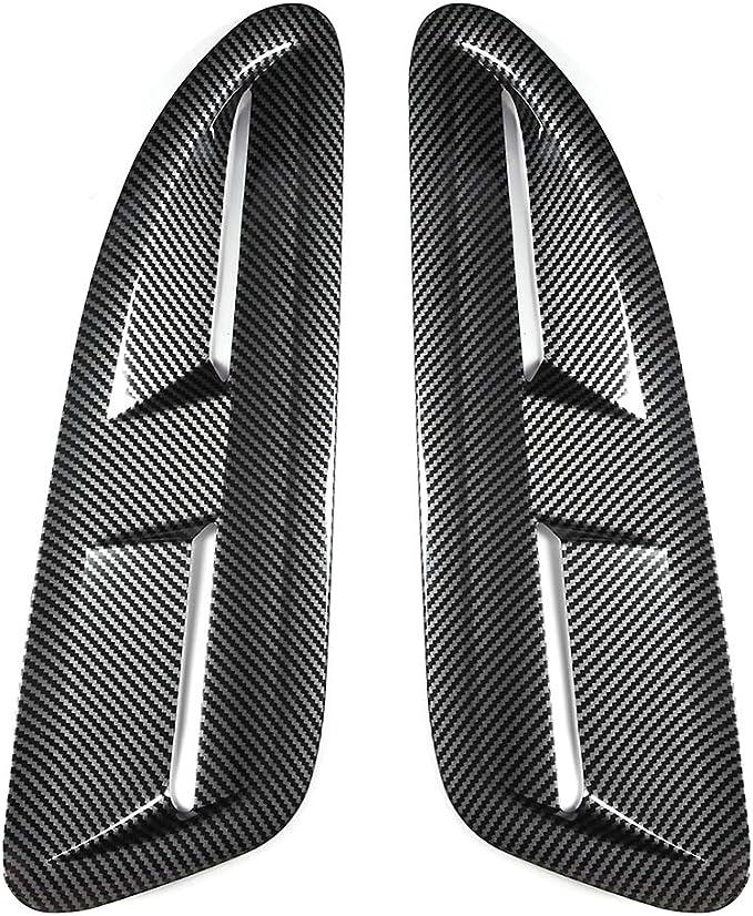 Gorgeri Air Flow Intake Scoop ABS 2pcs Carbon Fiber Style Car Air Flow Intake Decorative Scoop Bonnet Vent Hood Cover Universal