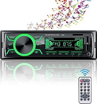 Radio de coche Bluetooth manos libres, 4 x 60 W, soporte FM / USB / MP3 / WMA / TF / AUX + mando a distancia, 7 colores de iluminación, 2 puertos USB