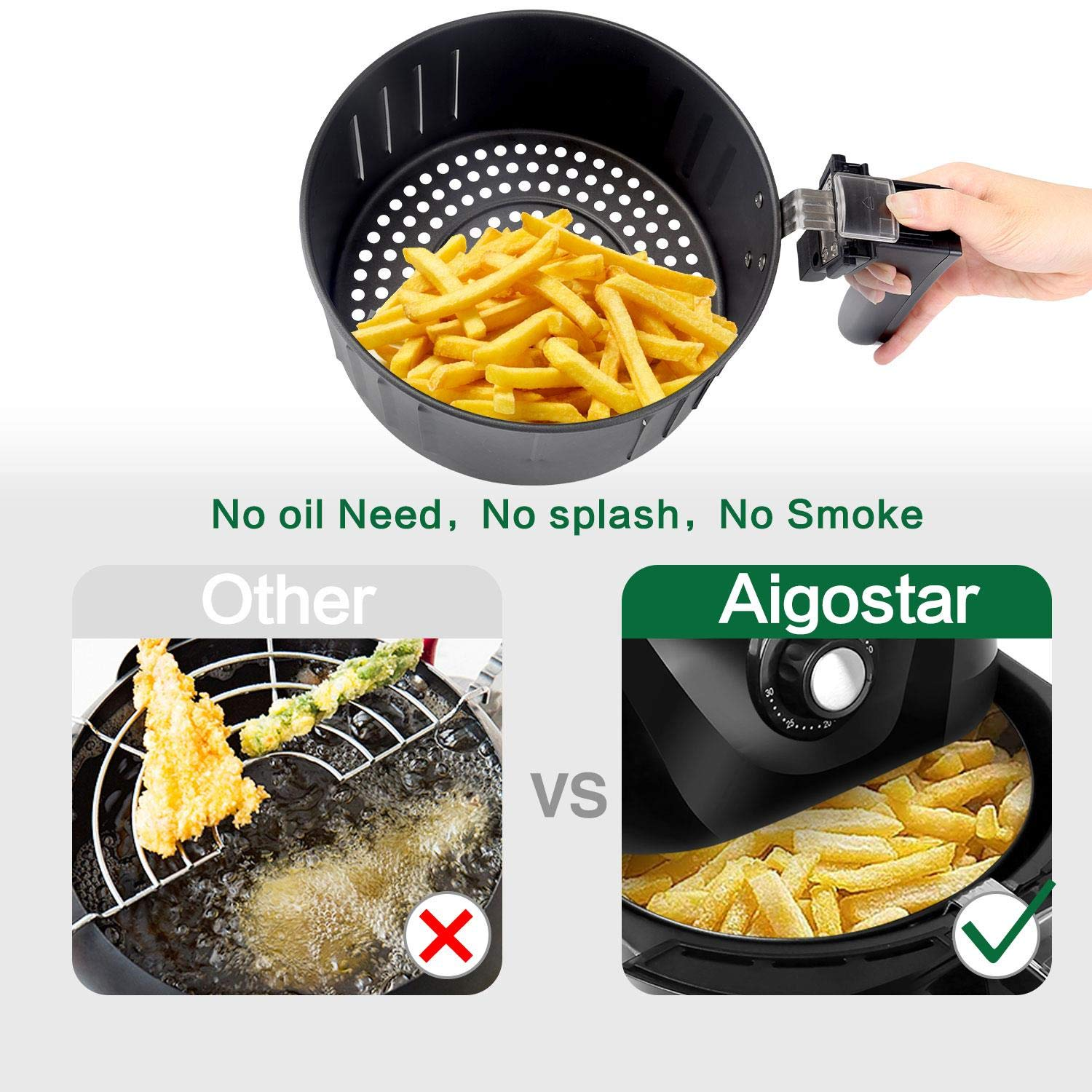 Aigostar Dragon Pro Air Fryer, 3.4Qt Electric Hot Air Fryers Oven Oilless Cooker with Detachable Non-stick Basket & Automatic Timer & Temperature Control for Fast Healthier Fried Food, 1400W by Aigostar (Image #5)
