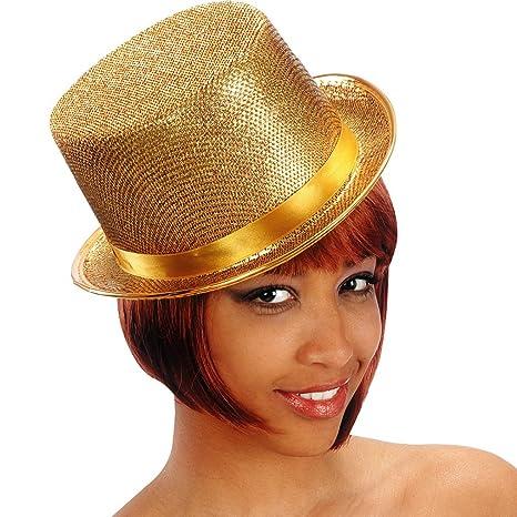 Cappello dorato cilindro in feltro con lam  oro Chorus Line  Amazon ... d450b93acecd
