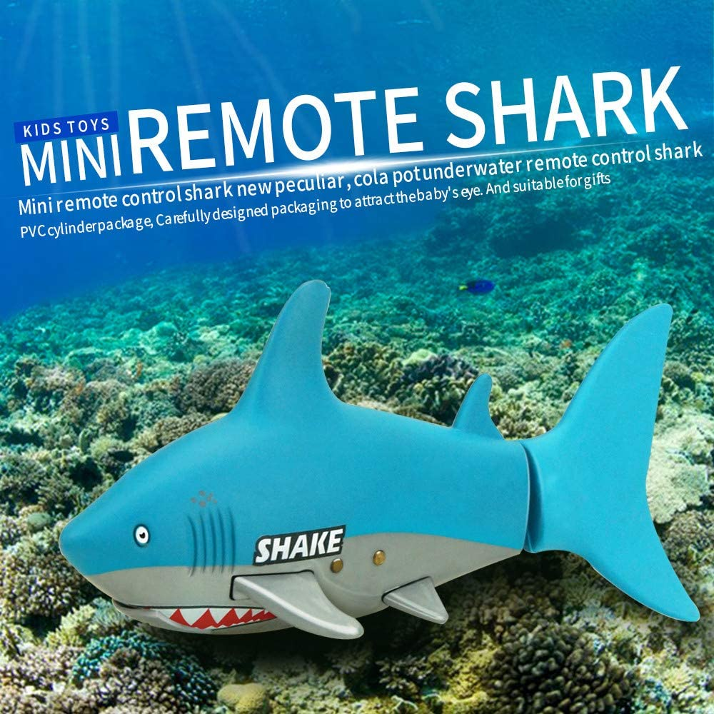 Fdrone ???? ???? Mini RC Shark Toy Remote Control Fish Boat Kids Fish with USB Cable Kids Gift Black