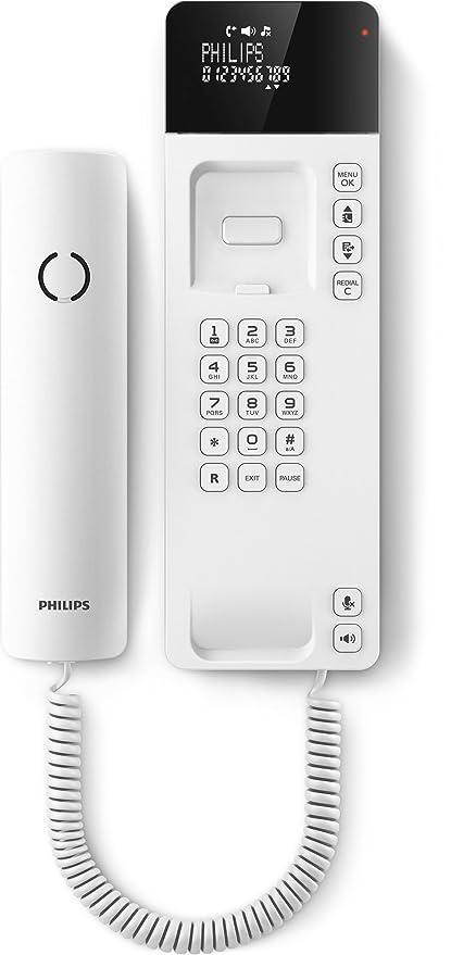 Philips Scala M110W - Teléfono de diseño con cable (manos libres, pantalla 2,75