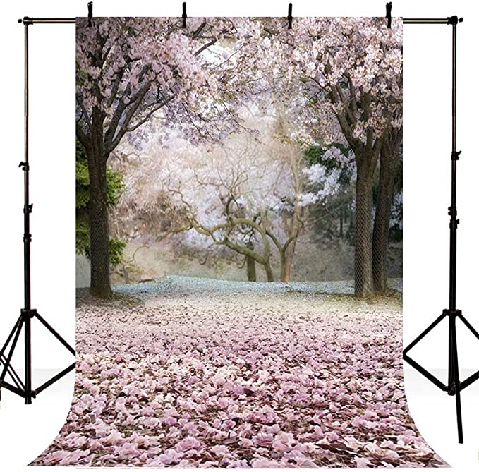 5x5FT Vinyl Wall Photography Backdrop,Pale Pink,Japanese Sakura Tree Background for Baby Birthday Party Wedding Graduation Home Decoration
