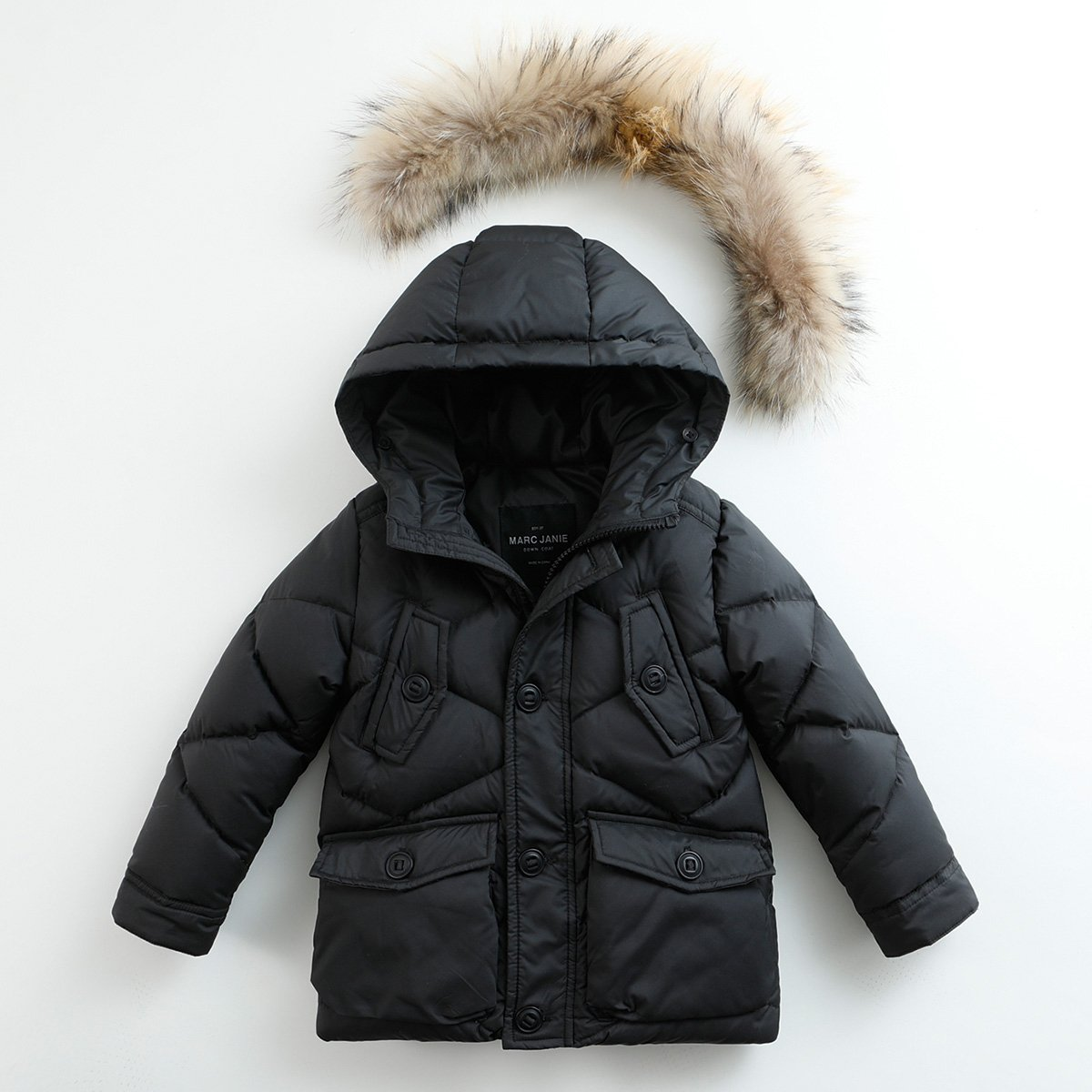marc janie Baby Boys Kids' Lightweight Down Jacket With Raccoon Fur Collar Hood Puffer Winter Coat Black 4T by marc janie (Image #3)