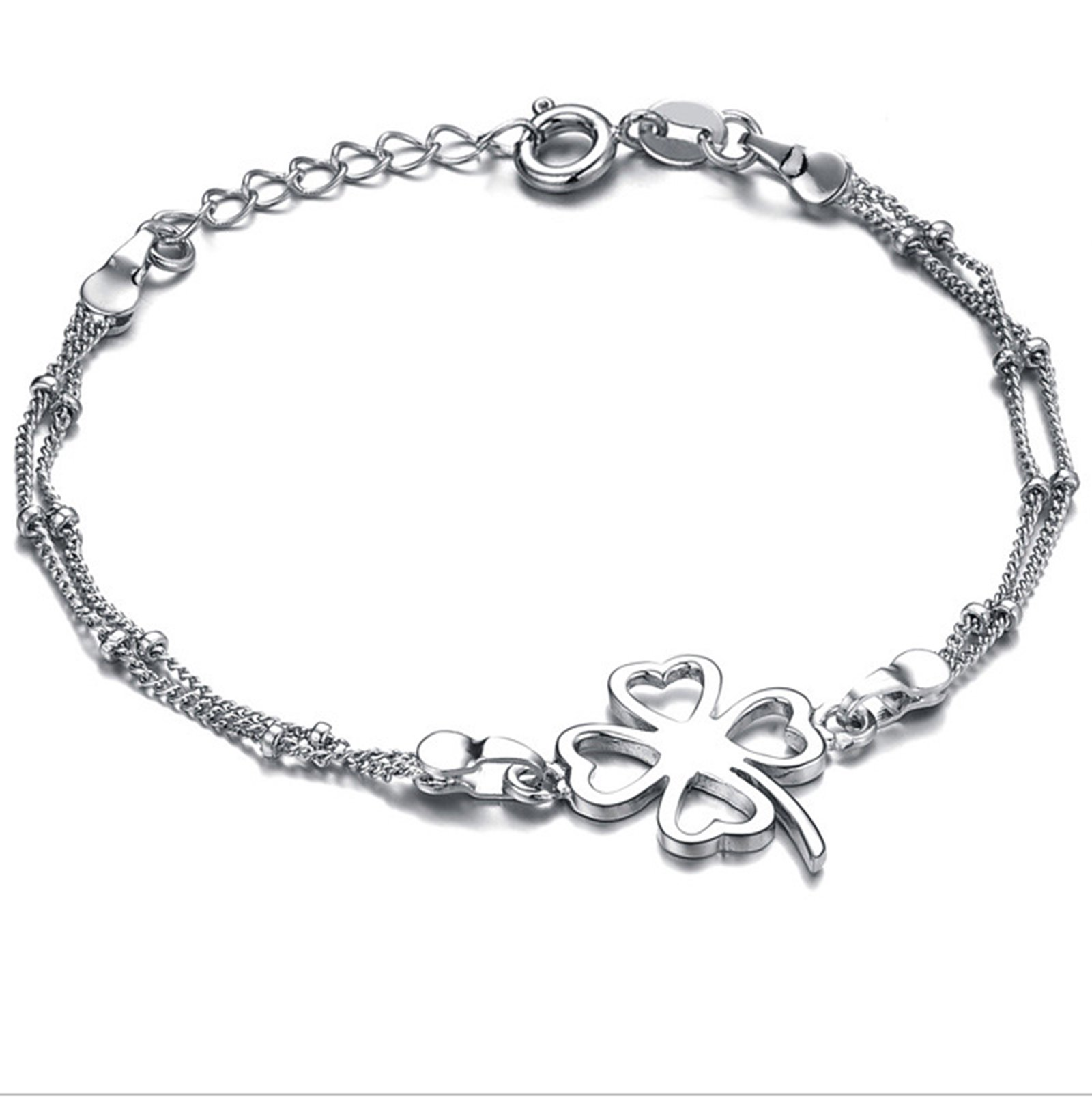Bishilin Beach Foot Jewelry Wedding Double Chain Clover anklet diamond 25 CM