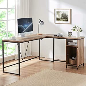 HSH L Shaped Computer Desk, Metal and Wood Rustic Corner Desk, Industrial Writing Workstation Table with Cabinet Drawer Storage for Home Office Study, Oak 59 x 55 inch
