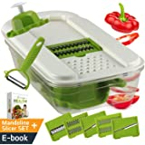 Adjustable Mandoline Slicer - Vegetable Slicer with 5 Stainless Steel Blades in Storage Box, Holder, Container with Lid, plus Peeler and Ebook, Easy to Use Julienne Food Slicer by NioChef
