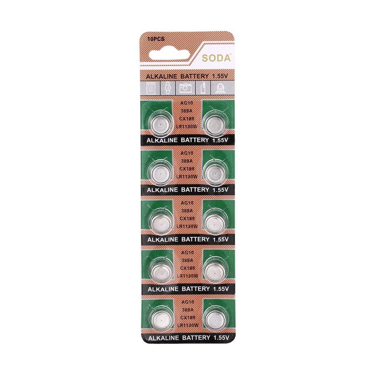 Tree-on-Life AG10 LR1130 389A LR54 L1131 189 Pile Bouton alcaline Compatible avec Horloge de Montre