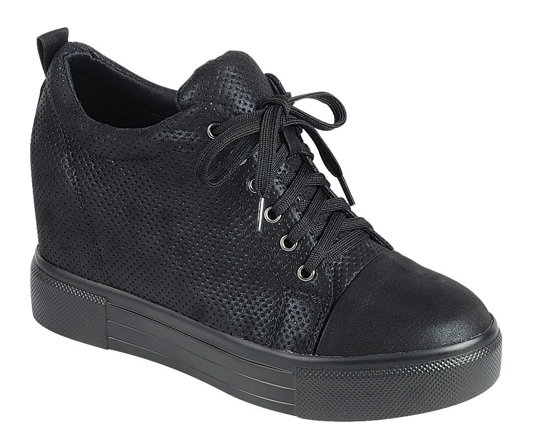 Cambridge Select Women's Low Top Closed Round Toe Lace-Up Perforated Fashion Sneaker Wedge B07BNV83PL 10 B(M) US|Black