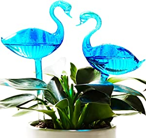 NiHome 2-Pack Blue Gradient Swan Glass Plant Self Watering Bulbs, Handblown Transparent Aqua Globe Automatic Irrigation System Decorative Spike Hydrate Indoor Outdoor Potted Plant Garden Durable Tube