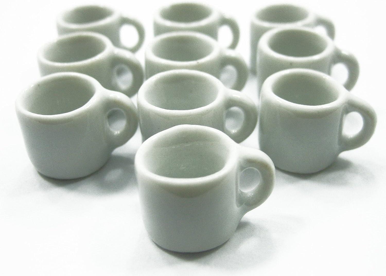 20 White Ceramic Coffee Tea Set Dollhouse Miniatures Food Supply Deco
