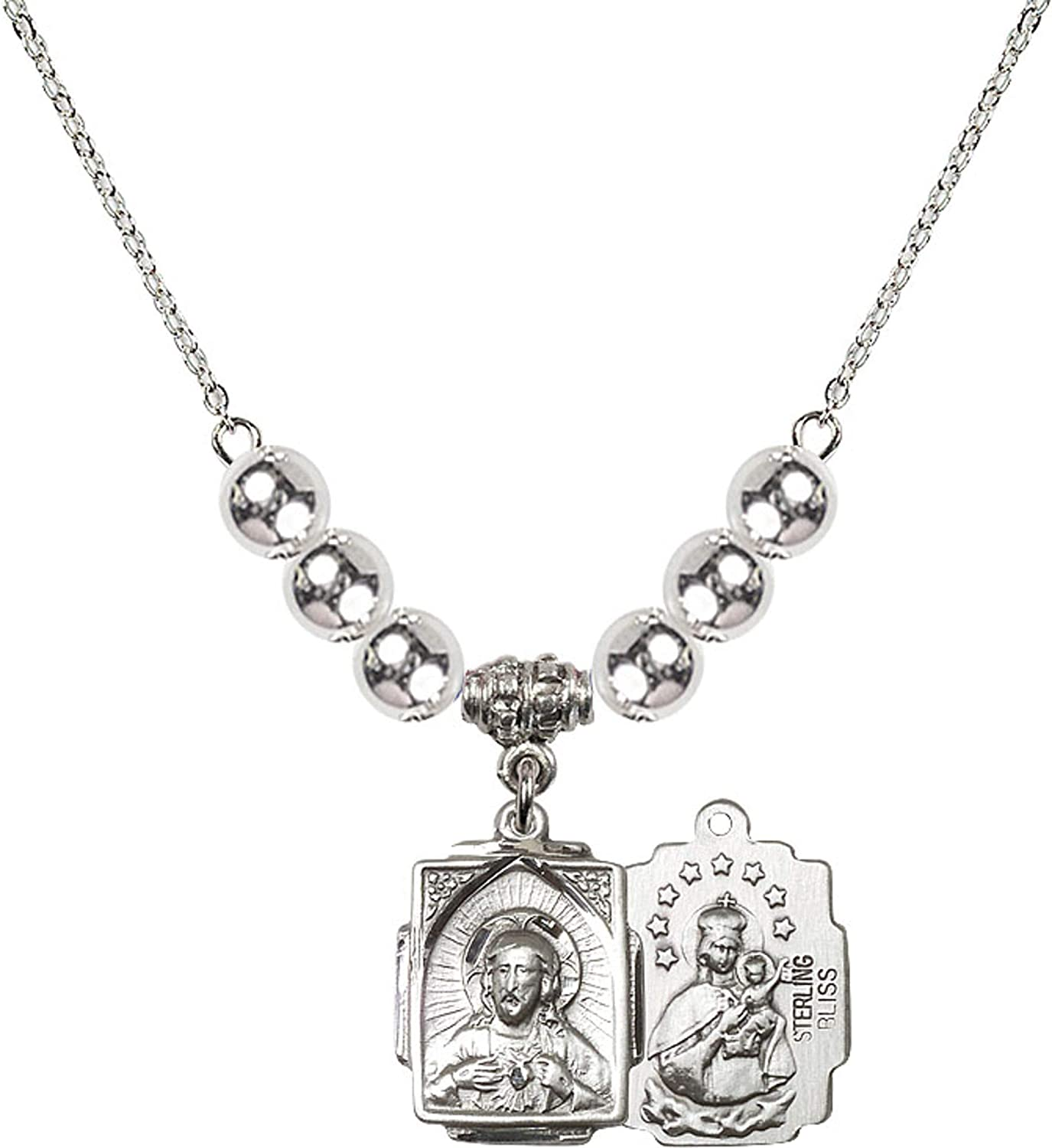 Bonyak Jewelry 18 Inch Rhodium Plated Necklace w// 6mm Sterling Silver Beads and Scapular Charm