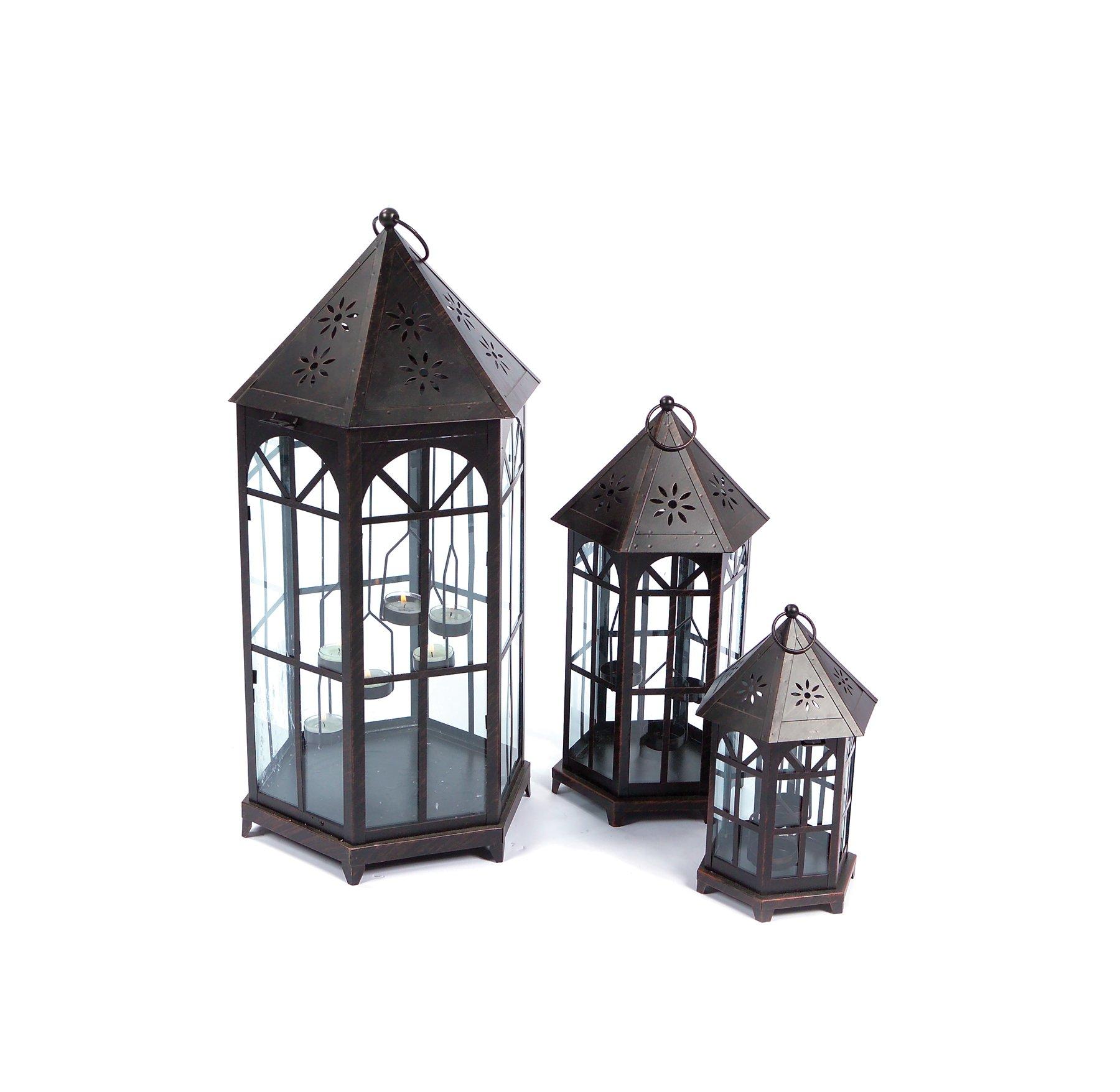 Melrose International Metal and Glass Lantern, Set of 3