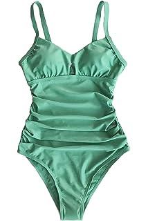 e74fcb4f9ef CUPSHE Women's Green Grass Solid One-Piece Swimsuit Backless Beach Swimear