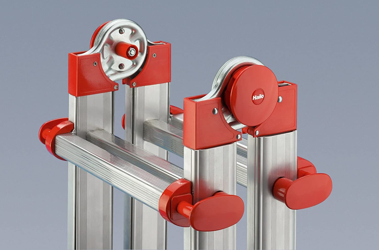 Escalera Industrial multiposici/ón 4 tramos de Aluminio 3 + 3 pelda/ños Hailo ProfiStep-Multi