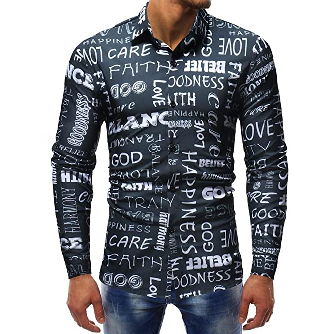 Yvelands Hombres Solapa de Moda Carta Informal Impresa Slim Fit Camiseta con Botones Camiseta Top Blusa Sudaderas Chaqueta Boda, Barato liquidación!: