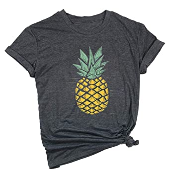 c6d6a41ef09e ALLTB Pineapple Print Women T Shirt Funny Graphics Tees Ladies Summer Cotton  Tops Clothing for Teen Girls Gift at Amazon Women's Clothing store: