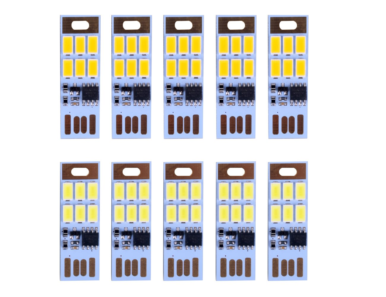HUAHA 10pcs USB Mini LED Lights 6 Keychain Lights Lamp with Smart Touch Electrodeless Dimming Switch for Laptop,Emergency Security Lighting Home Decoratio (5 Warm+5 White) by HUAHA