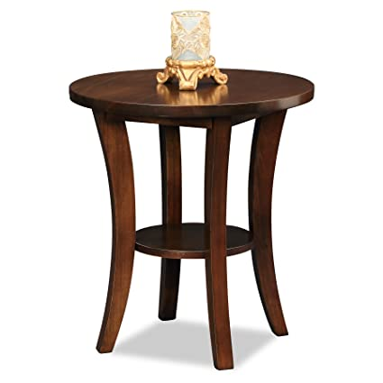 solid wood round table two toned leick furniture boa collection solid wood round side end table amazoncom