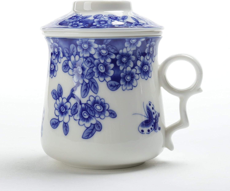 TEA SONG Taza de té Japonesa (400ML) con colador y Tapa Azul y Blanco