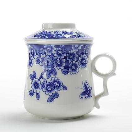 TEA SONG Taza de té Japonesa (400ML) con colador y Tapa (Azul y Blanco), infusor, Taza infundida, Filtro de elaboración de la Cerveza, decoración para ...